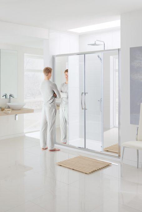 Mirror: Semi-Frameless Double Slider Door shower enclosure