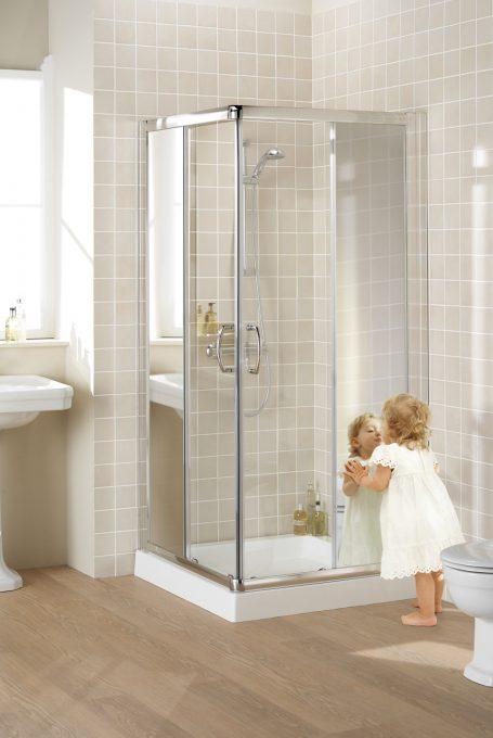 Mirror: Semi-Frameless Corner Entry shower enclosure