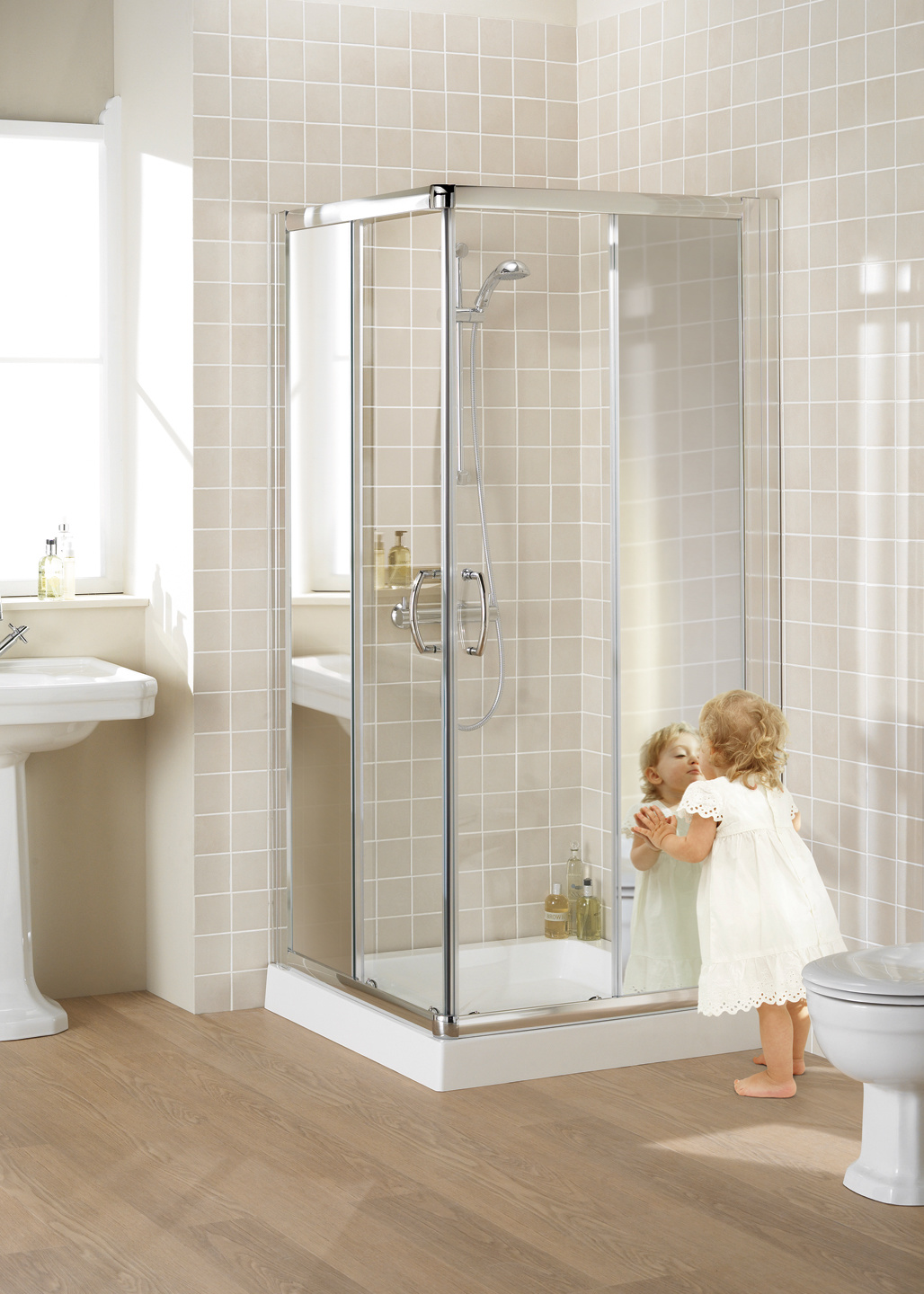 Mirror: Semi-Frameless Corner Entry shower enclosure