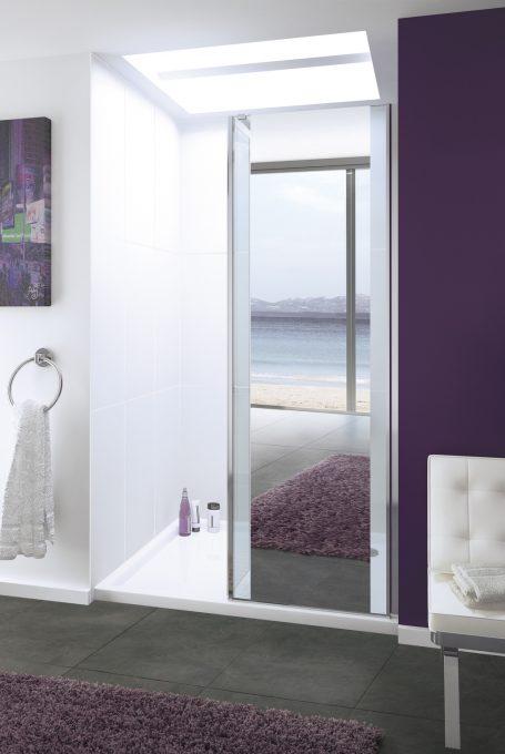 frameless Mirror: Levanzo walk-in shower enclosure