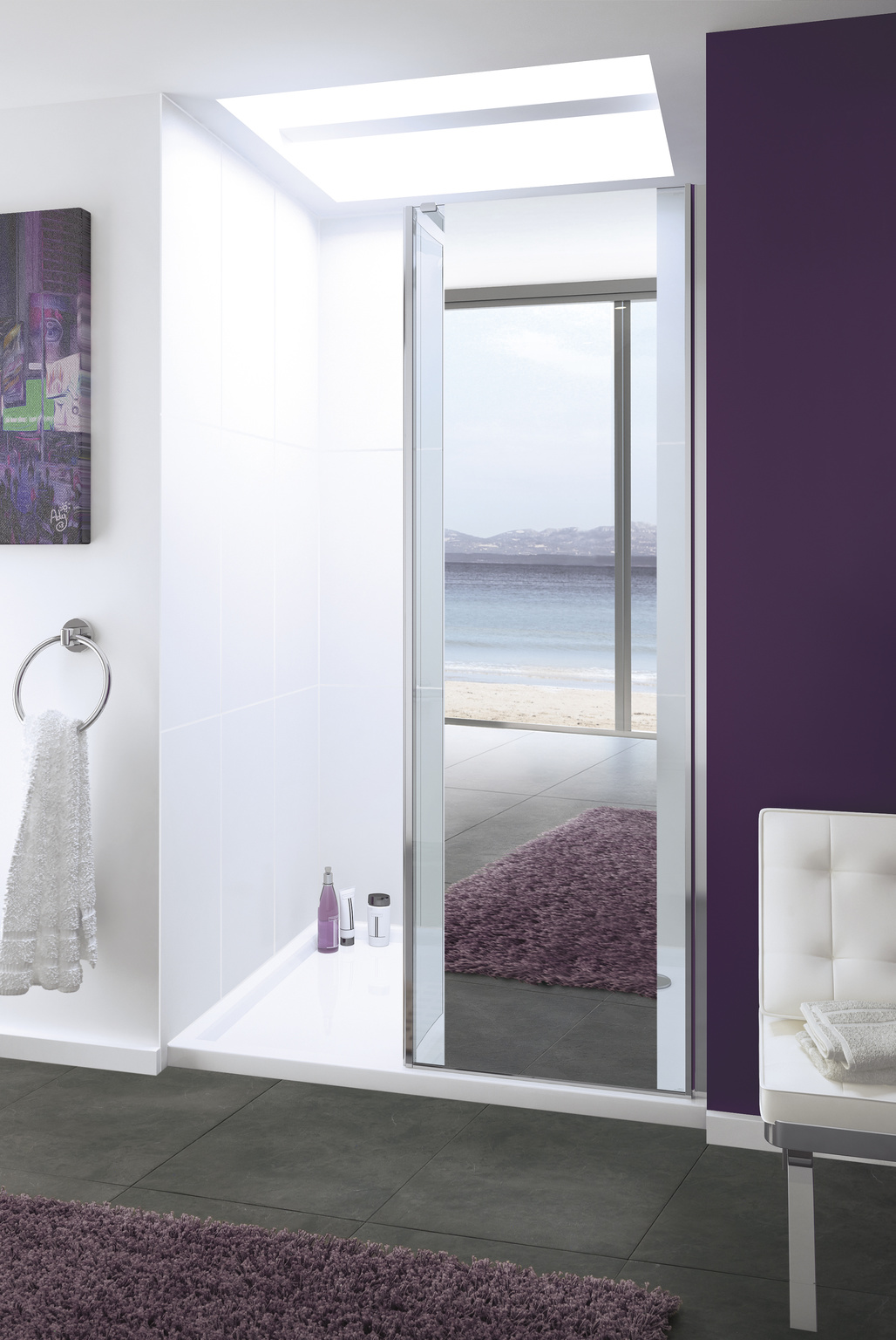 frameless Mirror: Levanzo walk-in shower enclosure
