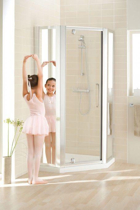 Mirror: Semi-Frameless Pentagon Shower Enclosure