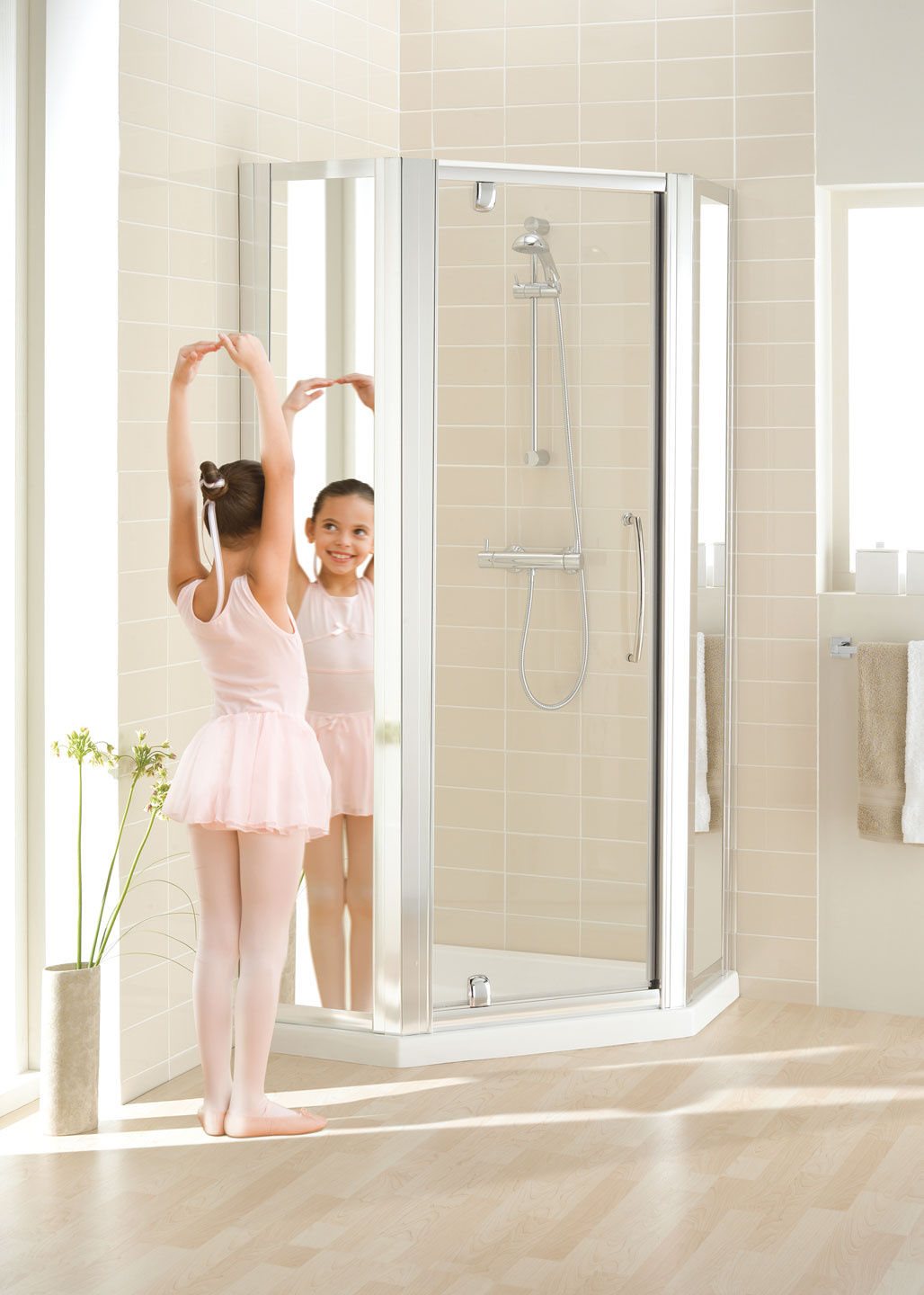 Mirror: Semi-Frameless Pentagon Shower Enclosure