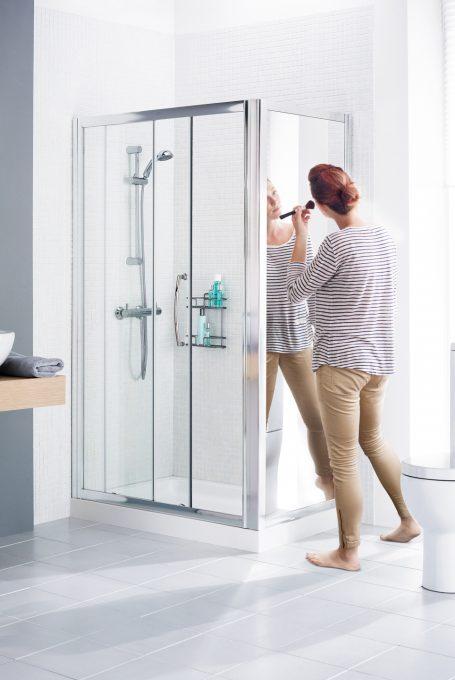 Mirror side panel for shower door enclosure