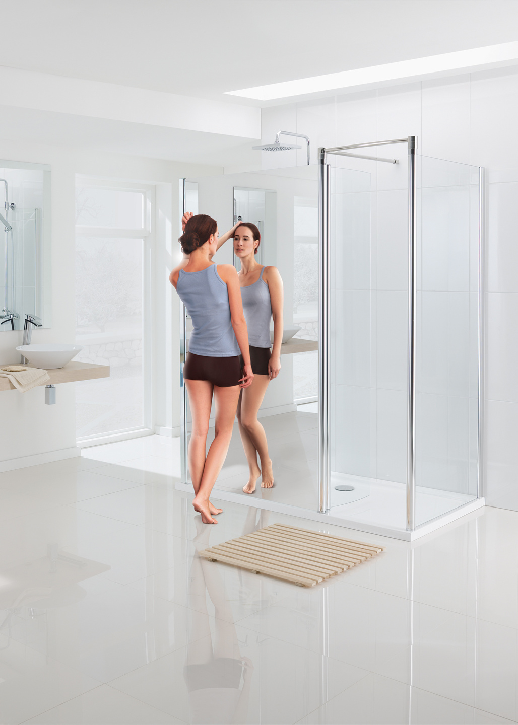 semi-frameless mirror walk in shower enclosure