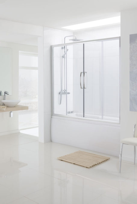 Over Bath Semi-Frameless Double Slider door bath screen