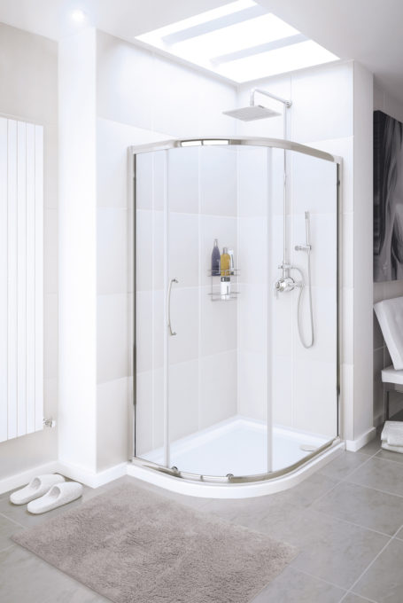 semi-frameless Single Door Quadrant shower enclosure