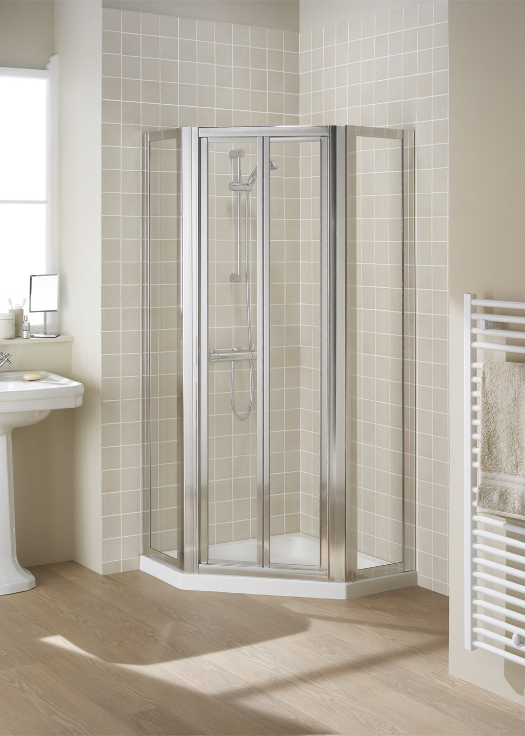 Pentagon fully framed shower enclosure